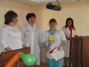 Награждение медицинской сестры процедурной ОЛТ №3 А.В. Ворониной